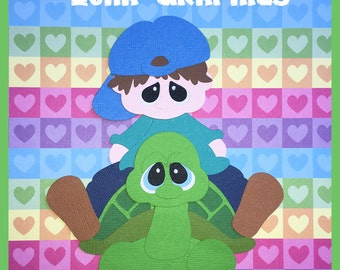 TURTLEY CUTE BOY Embellishments Paper Piecing card making and scrapbooking