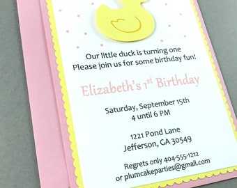Pink Rubber Duck Party Invitation