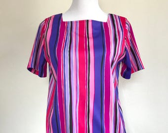 Vintage 1970s Vera Blouse // Loose Polyester T-Shirt Top // Purple, Pink, White and Black Stripes // Size Small/Medium