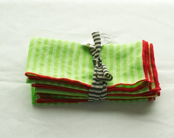 NAPKINS 100% linen lime green and white stripes with red border