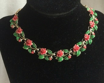 Rare Vintage Exquisite Pink Rose Birthday Necklace - June