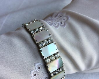 Vintage Mother of Pearl Diamante Crystal Bangle