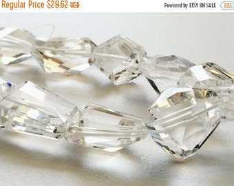 ON SALE 55% Crystal Quartz - Clear Crystal Quartz Faceted Nuggets, Crystal Quartz Necklace, 6 Pieces, 13-17mm,