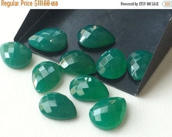 50% ON SALE WHOLESALE Green Onyx Cabochons, Faceted Pear Cabochons, Rose Cut Green Onyx, Green Onyx Pear Beads, Calibrated 12x16mm Each, Gre