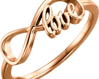 14K Gold Love Infinity Ring - Valentines Day Gift Idea. Solid Rose, Yellow, White Gold. Personalized Fine Jewelry. Anniversary & Wedding