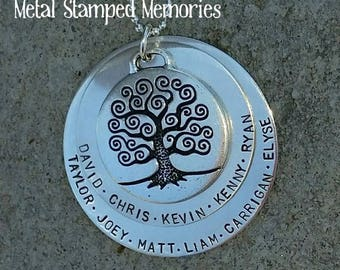TREE OF LIFE Necklace Double Stacked, Personalized with Many Names of Family, Children, Family Tree Charm, Hand stamped Custom Made
