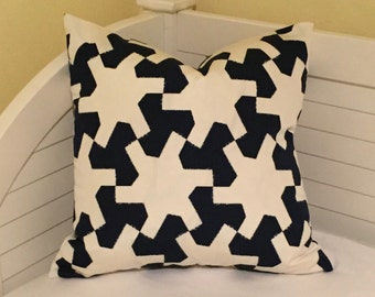 Schumacher Studio Bon Setareh II in Navy (on Both Sides)  Indoor Outdoor Pillow Cover - Square, Lumbar and Euro Sizes