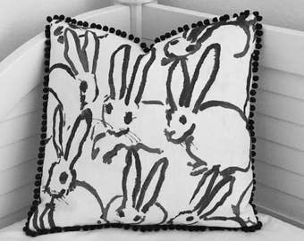 Groundworks Bunny Hutch in Black, Charcoal and Ivory Designer Pillow Cover with Small Pom Pom Trim - Square, Lumbar and Euro Sizes