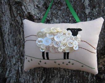 St. Patricks Day, Irish Sheep Decor, Prim Ireland Sheep, Primitive Hand Embroidery, Unique Vintage Pearl Button Sheep, OOAK Design, Green