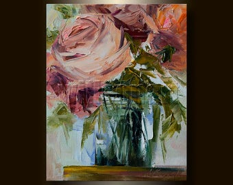 Floral Canvas Modern Flower Oil Painting Roses Textured Palette Knife Original Art 8X10 by Willson Lau