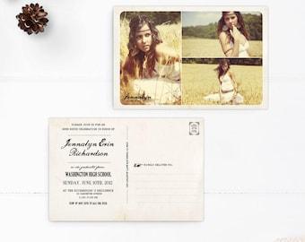 "Photo graduation party invitations, Graduation photo announcements, Custom grad postcards, 4x6  - the ""Jennalyn"""