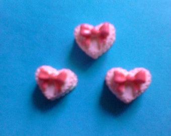 Kawaii mini pink heart cookie with red bow cabochon charm Deco diy craft 3 pcs---USA seller