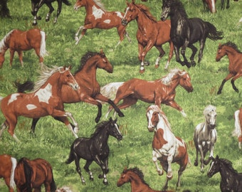 Run Free Horses on Grass Print Pure Cotton Fabric--By the Yard