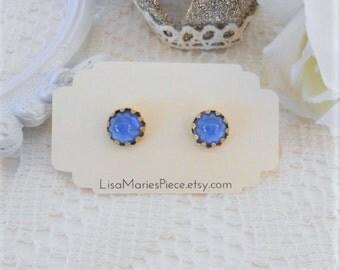 Sapphire Stud Earrings, Star Stud Earrings, Bullet Stud Earrings, Blue Studs, Vintage Cabochon Studs, Crystal Stud Earrings, Estate Jewelry
