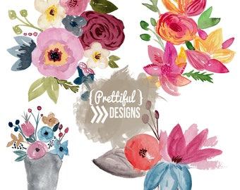 Watercolor Floral Bouquet Clip Art Commercial Use