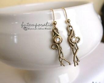 Gold bronze earrings with cubic zirconium, OOAK, SABO17