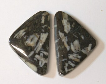 CHINESE WRITING ROCK (33481)  Matched Pair (2 Gems) Hard to Find! Cab/Cabochon