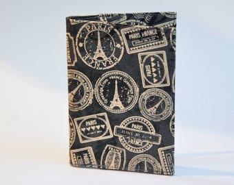 Passport Holder Passport Cover Sleeve Case  Cotton Fabric  Destination Paris black and gold passport stamps