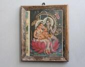 Vintage Ganesh Shiva and Parvati Print Indian Hindu Deity Bohemian Decor Wall Poster Religious Art Kitsch Art Religious Art  Wall Decor