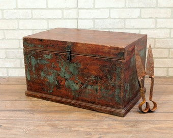 Vintage Merchant Chest Indian Reclaimed Chest Jewelry Box Small Trunk Farm Chic Industrial Storage