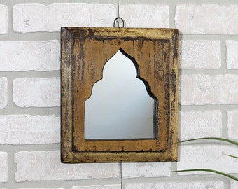 Small Wall Mirror Moroccan Mirror Moroccan Design Wall Mirror Collage Accent Mirror Wall Hanging Art Turkish Boho Mirror Mustard Brown