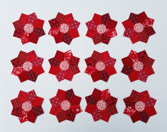12 Scrappy Miniature Dresden Plate Red Quilt Blocks 5 inches