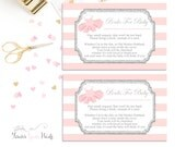 Book Request Insert Cards, Baby Shower Insert Cards, Tutu Baby Shower, Invitation Enclosures, Bring A Book, Pink and Silver, Books For Baby