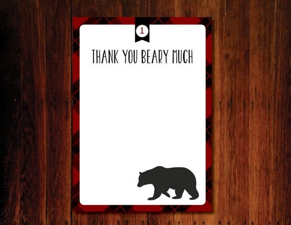 5x7 Thank you Beary Much Flat Card - digital file