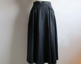 80s Laura Ashley Wool Skirt Charcoal Gray Black Velvet 1980s A line Pleat Designer Skirt 10US