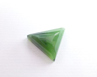 GREEN Jade Faceted Cabochon. Natural nephrite jade.  British Columbia Canada. No Treatments. Can BE Drilled. 21.24 cts 24x21x8mm (JD188)