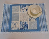 Quilted Placemats, Blue Floral Placemats, Fabric Placemats, Roses, Flowers, Cottage Shabby Chic, Blue Placemats, Blue Quilted Place Mats