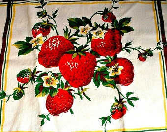 Vintage Strawberry Towel Berries Kitchen Textile Tea Towel Red Juicy Berries Fruit