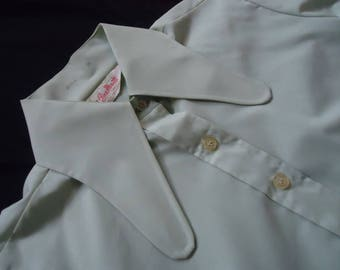 HUGE Butterfly Collar Light Green Vintage 1970's Women's Blouse Shirt M L
