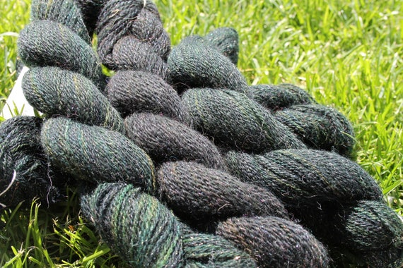 Merino Yarn  Green with Angelina- 5/50- 75 yards per skeins   BARGAIN - Close Out Yarn Spinderellas Creations Knitting Crochet Weaving