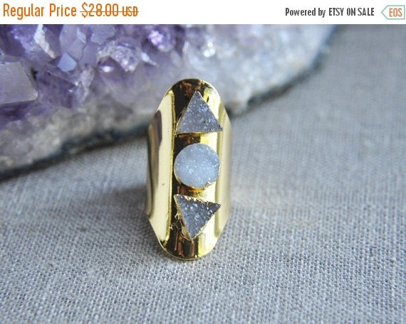 SALE Druzy Ring, Triple Stone Ring, Gold Ring Cuff, Geometric Ring, Triangle Ring, Circle Ring, Triple Druzy Ring, Boho Ring, Bohemian Ring