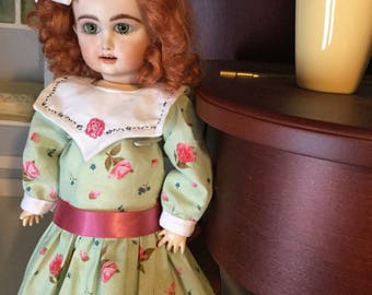 Bleuette doll dress with hand embroidered collar