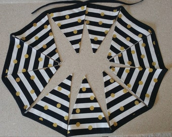 Gold polka dot black white stripe  bunting banner garland 11 flags party prop decor fabric cotton 105 inches