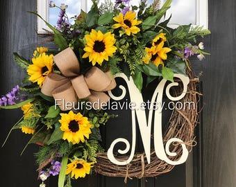 Summer Wreaths for Front Door, Summer Door Wreaths, Front Door Wreaths, Grapevine Door Wreath, Sunflower wreath, House Warming