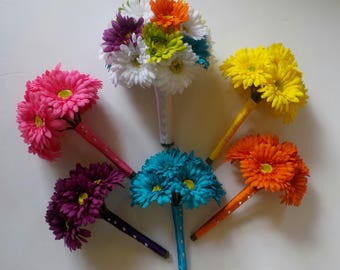 Rainbow Wedding Flowers, 9 Piece Floral Package, Gerbera Daisy Bouquets, Bridesmaids Bouquets, Your Choice of Colors, Wedding Flowers