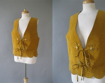 Vintage Mustard Suede Leather Vest - 1960s Fringe Hippie Vest with Daisy Detail