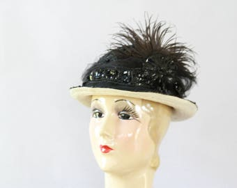 Authentic Edwardian Hat - Black Beaded and Feathers  Wide Brim - 1900s Merry Widow Straw Hat - Derby Ascot Hat