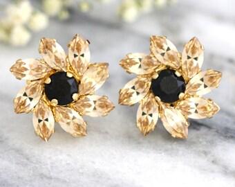 Black Champagne Earrings, Swarovksi Black Earrings, Gift for her, Bridal Light Silk Earrings, Bridesmaids Earrings, Christmas Gift.