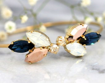Blue Navy Bracelet, Bridal Bracelet, Bridal Champagne Blue Navy Bracelet, Swarovski Cuff Bracelet, Bridesmaids Bracelets, Gift For Her.