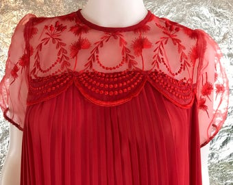 Vintage Red 60's Pleated Night Gown  M