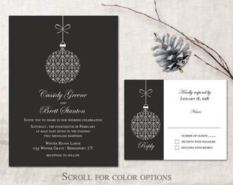 Winter Wedding Invitation Printable Set Christmas Wedding Invitations Ornament Winter Wedding Invitation Template Any Color Blue Marsala etc