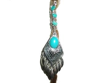 Turquoise dreadlock bead jewelry
