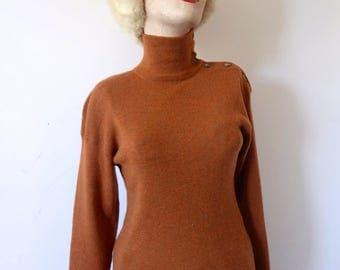 1980s Calvin Klein Sweater - wool turtleneck designer vintage knit top size S