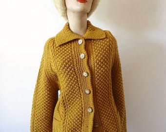 Vintage Wool Sweater fisherman style squash color cardigan with collar