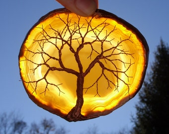 Copper Wire Tree Of Life Metal Art Sculpture On A Yellow Agate Stone Crystal Suncatcher
