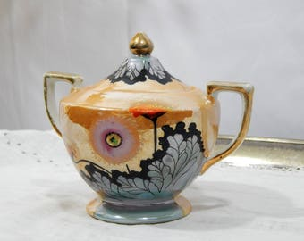 Vintage Lusterware ,T T Takito,Lusterware,Sugar Bowl ,Made in Japan,Hand Painted